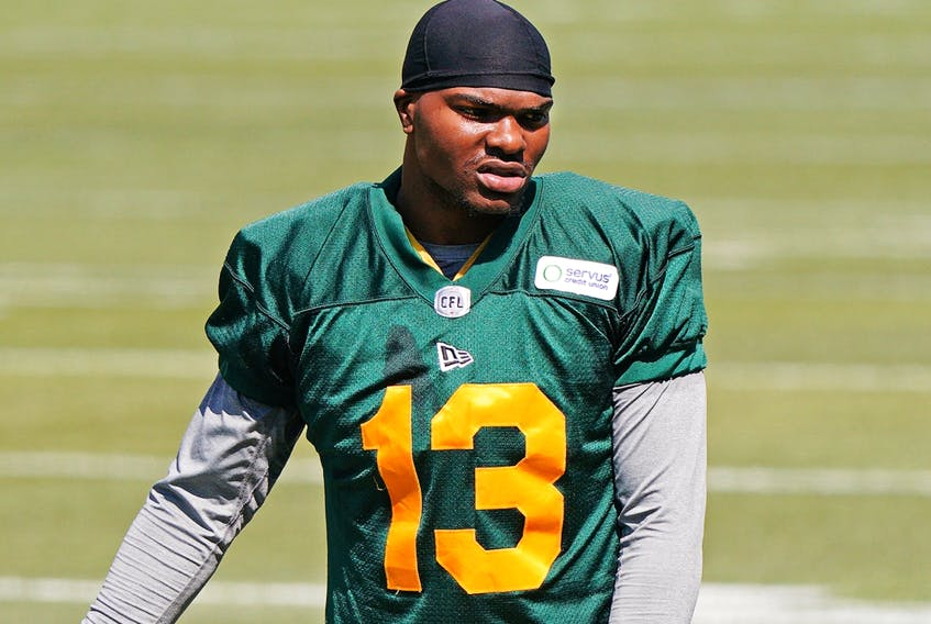 Vontae Diggs, seen here during Edmonton Elks practice in Edmonton on July 12, 2021, was reportedly released Thursday along with several other veteran names.