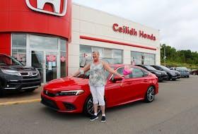 New Glasgow resident Cindy Swinamer won a free car thanks to Honda and the Toronto Blue Jays.