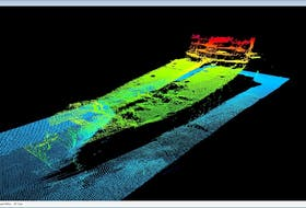Equinor survey contractor Fugro captured two images of processed high-resolution sonar data of an unidentified ship wreck in the Flemish Pass Basin.