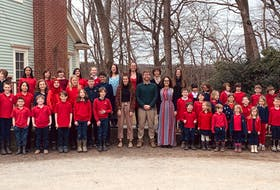 Students and staff of the Booker School in Port Williams posed for a photo in April.