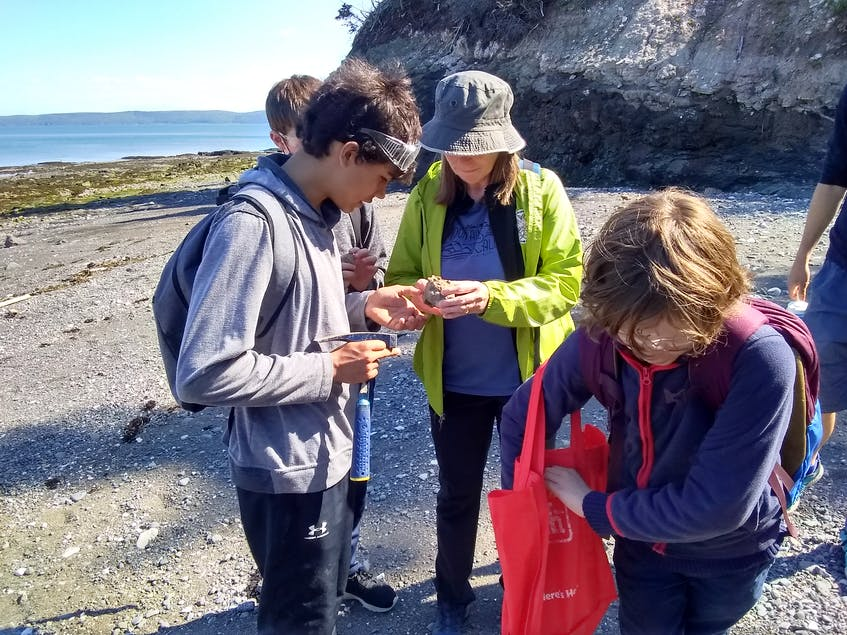 Grade 6 and 7 students of the Booker School in Port Williams took a geology field trip to the beach. The school prioritizes outdoor learning. CONTRIBUTED