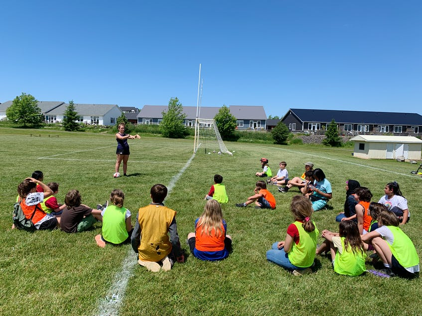 Grades 4 to 7 took part in a flag rugby workshop with Rugby Nova Scotia. CONTRIBUTED