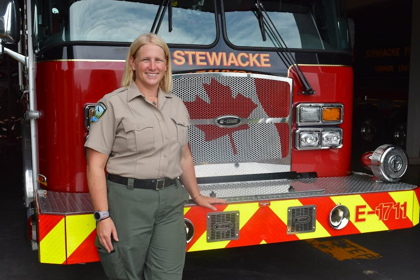 Kara McCurdy has many hats from her 27-year career with the department of lands and forestry, including fire behaviour analyst, wildfire investigation officer, public information officer, forest technician and fire desk duty in Shubenacadie, N.S., as well as deputy chief of the Stewiacke Fire Department.