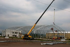 A lot of work is taking place at the Nova Scotia Provincial Exhibition grounds in Bible Hill. The dome on the Agridome is coming down, the grandstand is being renovated and fencing is being repaired. LYNN CURWIN PHOTO