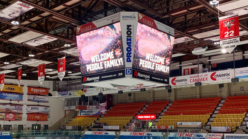 A messsage on the big screen at the Centre Marcel Dionne for the Peddle family during a recent visit. - Drummondville Voltigeurs