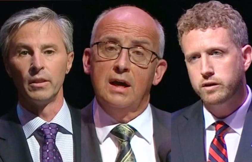 PC leader Tim Houston, left, NDP leader Gary Burrill and Liberal leader Iain Rankin held their first televised provincial leaders debate on Wednesday night in Halifax.