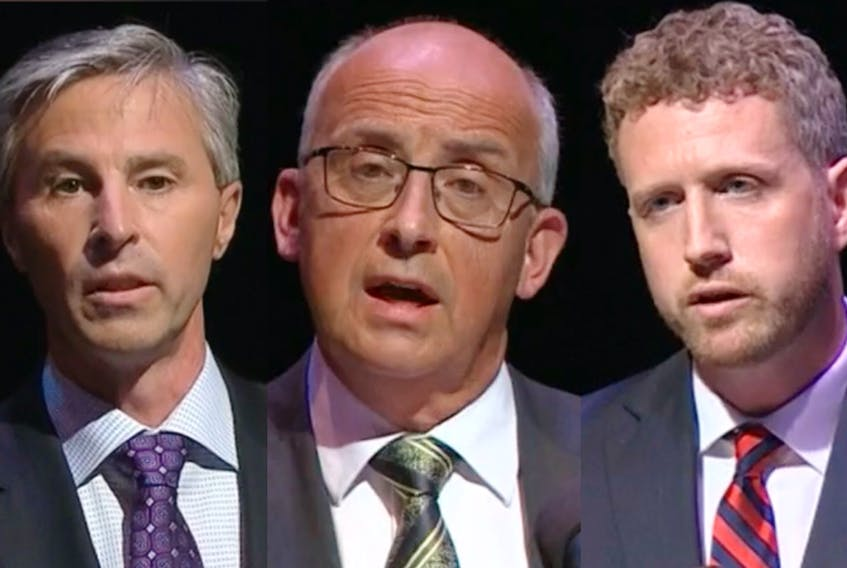PC leader Tim Houston, left, NDP leader Gary Burrill and Liberal leader Iain Rankin held their first televised provincial leaders debate on Wednesday night in Halifax. — CONTRIBUTED