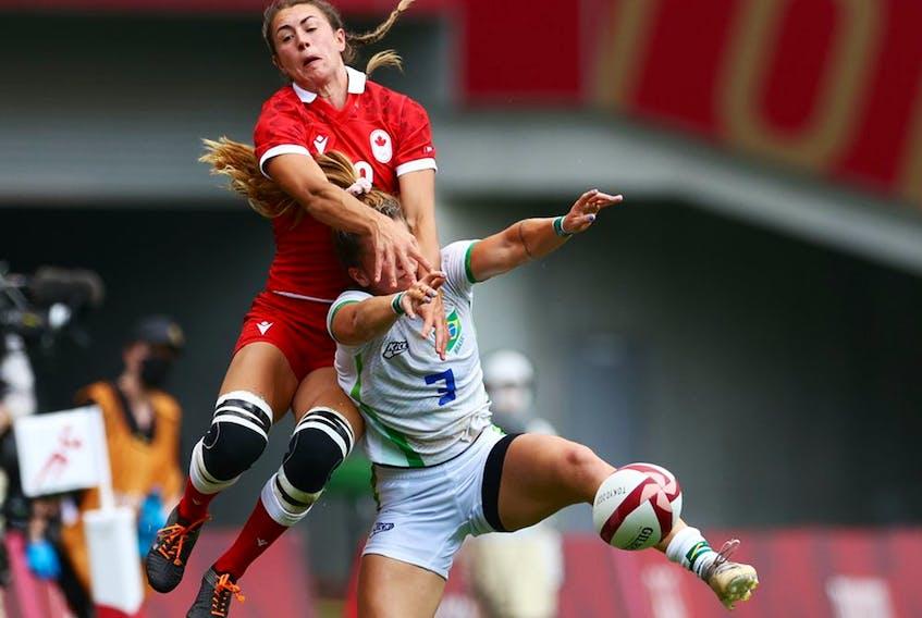 Kaili Lukan of Canada in action with Rafaela De Conti Zanellato of Brazil. Canada won 33-0.