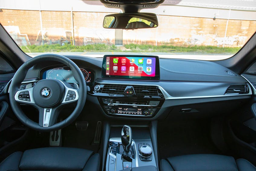 The 540i comes available with a host of interesting interior colors including brown, red, and cream, so there's really no good reason to order in with a full black interior as this test car was equipped. Photo: Clayton Seams