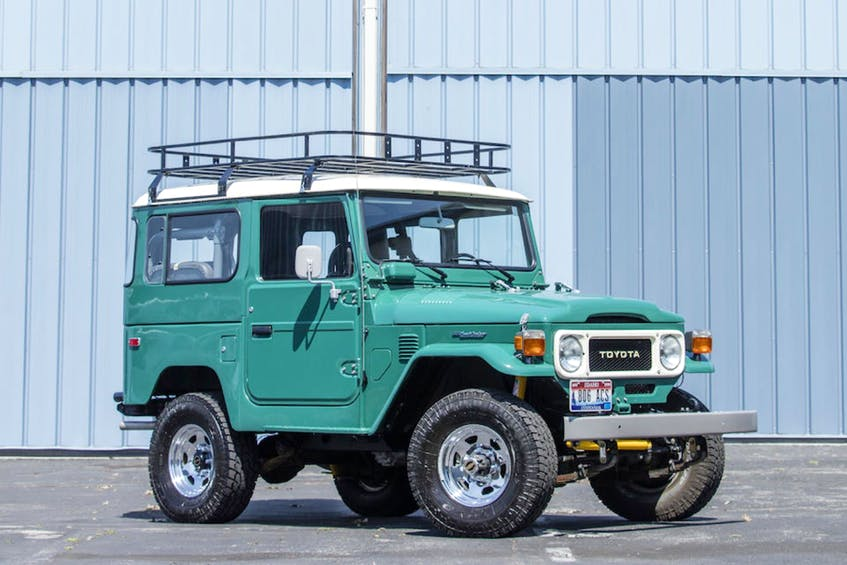 Multiple mechanical upgrades were made to the Land Cruiser, including adding power steering and brakes, and swapping out the Toyota engine for a 180-horsepower, 4.3-litre Vortec V6 from GM, which is connected to a GM five-speed manual transmission. Photos: Bonhams