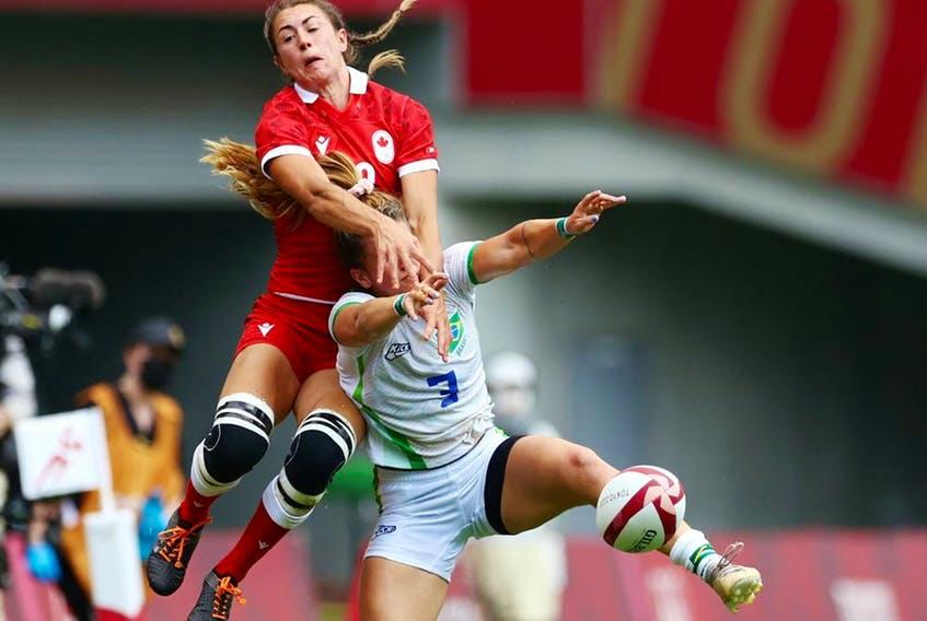 Kaili Lukan of Canada in action with Rafaela De Conti Zanellato of Brazil. Canada won 33-0. - Contributed