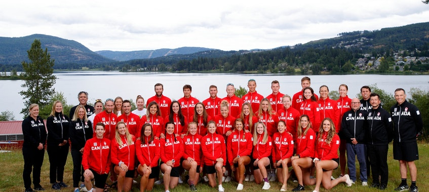 Jeremy Ivey of St. John's (second from right) is part of Canada;'s largest Olympic rowing team in 25 years. — Rowing Canada Aviron