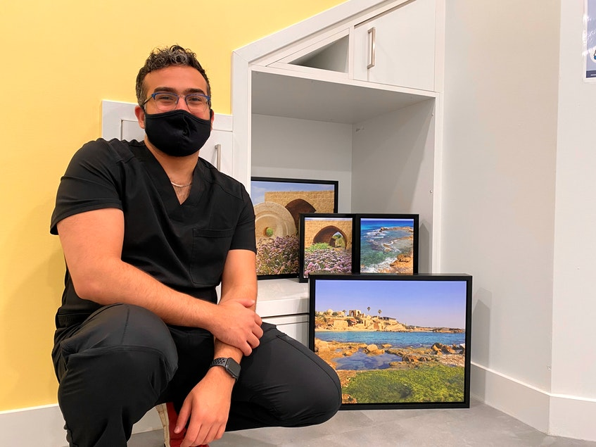 Dr. Ayman Awad wants the clinic to be a reflection of his identity and values. He plans on hanging photos of his Palestinian ancestral hometown on the walls. - Nebal Snan