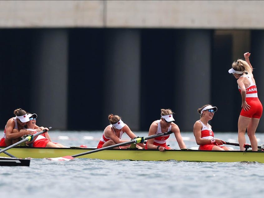 Andrea Proske, Susanne Grainger, Madison Mailey, Sydney Payne, Avalon Wasteneys and Kristen Kit of Team Canada celebrate winning the gold medal during the Women's Eight Final A on day seven of the Tokyo 2020 Olympic Games at Sea Forest Waterway on Friday, July 30, 2021 in Tokyo, Japan. - Naomi  Baker