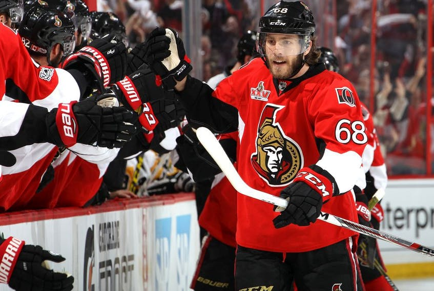 Mike Hoffman celebrates with Ottawa Senators teammates after scoring goal during Game 6 of Eastern Conference final against the Pittsburgh Penguins on May 23, 2017.