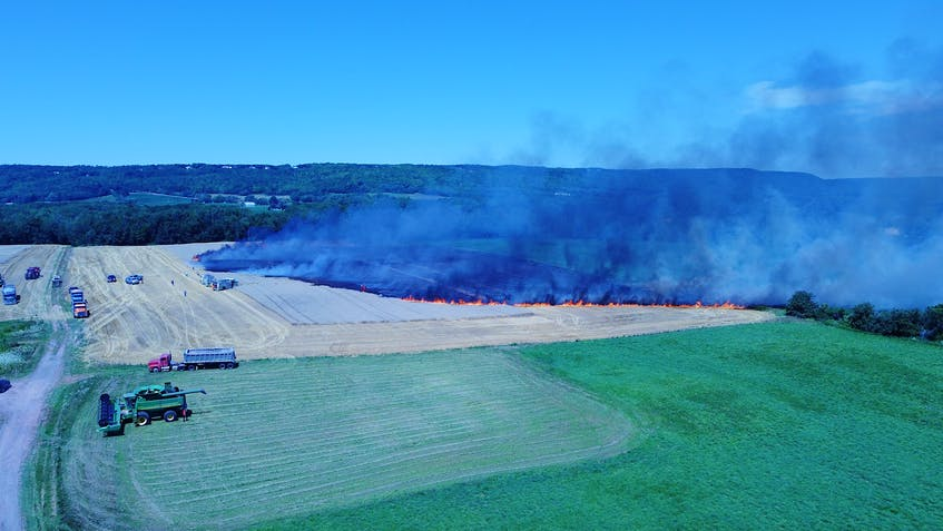 Kentville firefighters, along with four mutual aid fire departments, responded to a wheat field on fire, which was located along Highway 221 in Centreville. - Adrian Johnstone