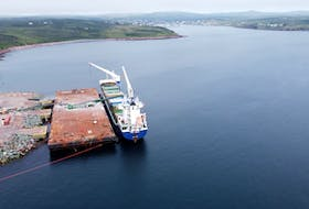 FWN Paula is the first vessel to arrive at Canada Fluorspar Inc.'s (CFI) new marine terminal in St. Lawrence Harbour for a load of fluorspar. The company's terminal at Blue Beach was completed earlier this year. Photo courtesy CFI