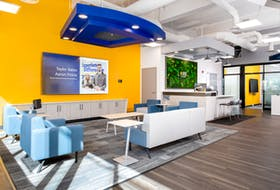 The brand-new Community Credit Union on Prince Street boasts bright colours, a wall of flat-screen TVs, a comfortable set-up of couches and a coffee bar. - Photo Contributed