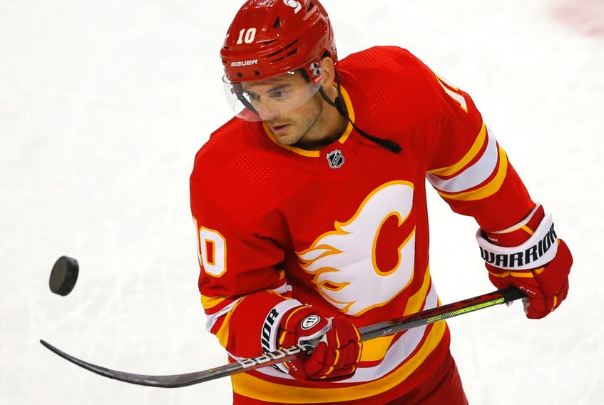 Calgary Flames' Derek Ryan during warm up before taking on the Ottawa Senators at the Scotiabank Saddledome in Calgary on May 9, 2021.
