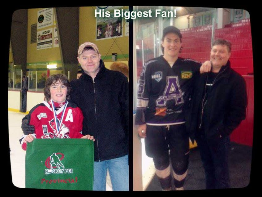Zack MacEwen poses with his father, Craig MacEwen, during his days playing hockey in Pownal, left, and Amherst, N.S.