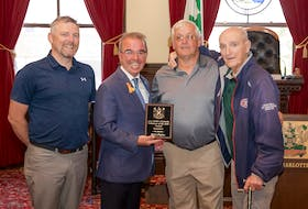 From left to right: program Coordinator Christopher Drummond, Mayor Philip Brown, Rick Callaghan, and Forbes Kennedy at the presentation of the 2021 Forbes Kennedy Volunteer of the Year Award.