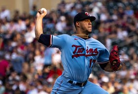Jose Berrios of the Minnesota Twins pitches in the second inning of the game against the Los Angeles Angels at Target Field on July 24, 2021 in Minneapolis, Minn.