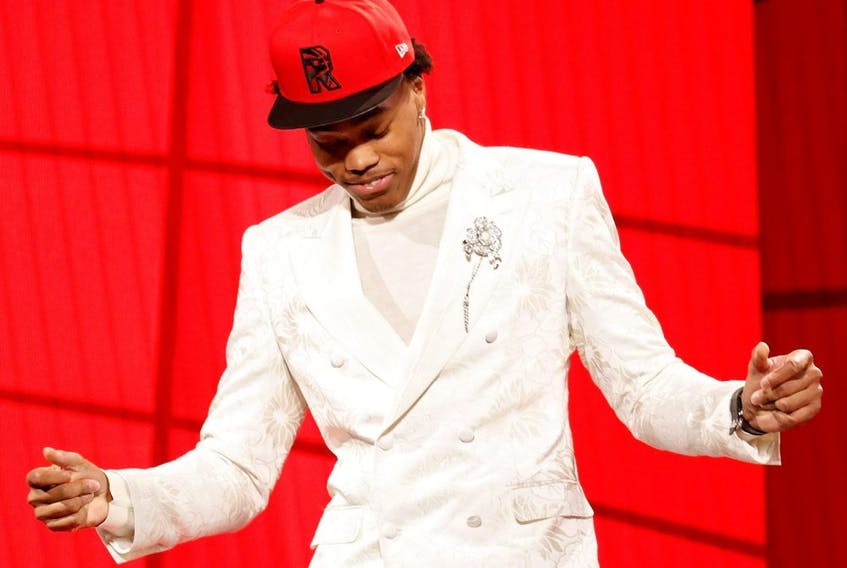Scottie Barnes reacts after being drafted by the Toronto Raptors during the 2021 NBA Draft at the Barclays Center on July 29, 2021 in New York City.