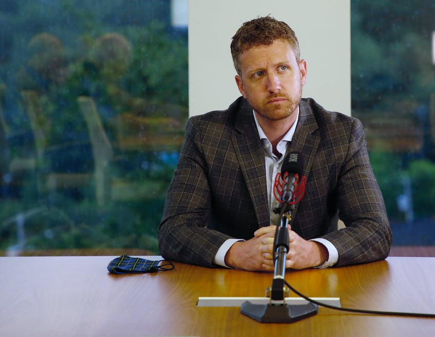 Nova Scotia Premier Iain Rankin answers questions during an editorial board at The Chronicle Herald's office in Halifax on July 30, 2021. Rankin said on Monday that his government, if re-elected, will move toward vaccine passports for use in Nova Scotia as a matter of urgency. - Tim Krochak