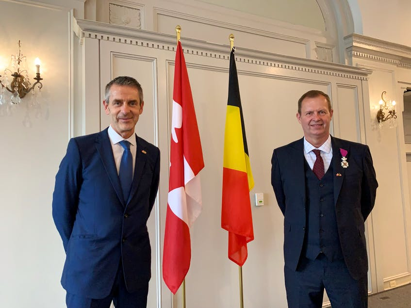 Ambassador Johan Varkemmen and Honorary Consul Patrick Philips were fascinated by the courage and tenacity of early Belgian immigrants. - Nebal Snan