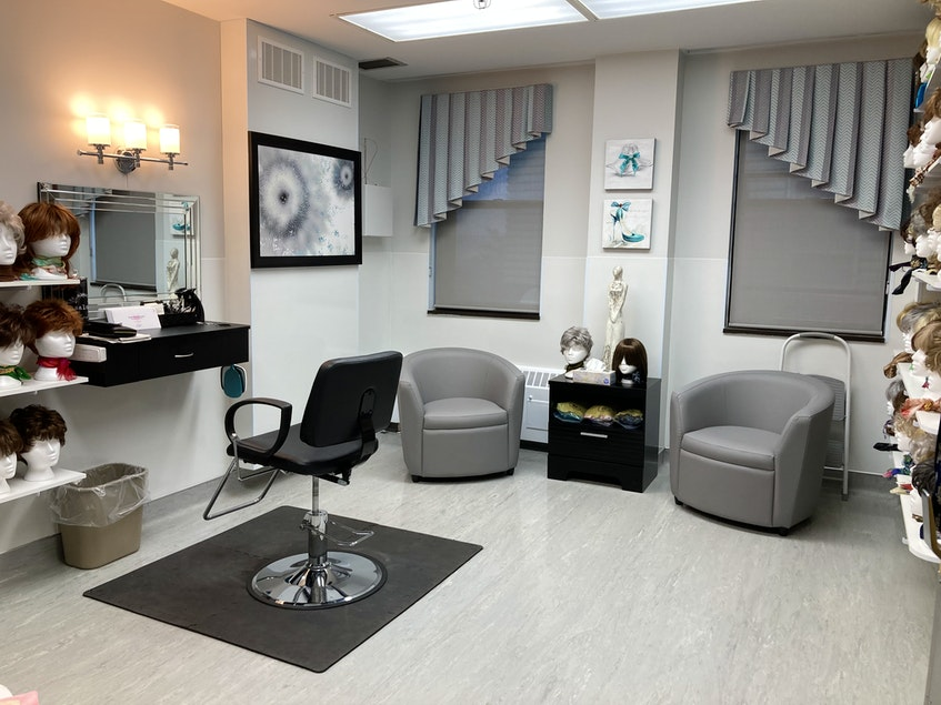 The Northside-Harbourview Hospital Foundation's wig bank at the Northside General Hospital in North Sydney. There is a hairdressing station set up with a vanity and guest chairs for any support people. Lynn Gilbert/Nova Scotia Health - Contributed