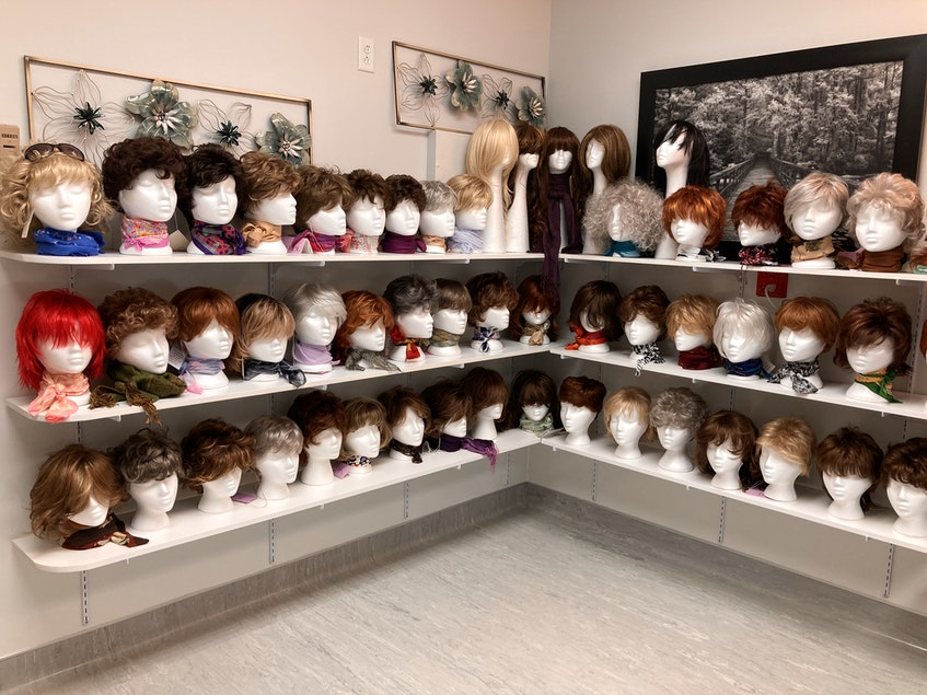 A huge display of styles and colours of wigs at the Northside-Harbourview Hospital Foundation's wig bank at the Northside General Hospital in North Sydney. The wigs are free and available to anyone for any reason. Lynn Gilbert/Nova Scotia Health - Contributed