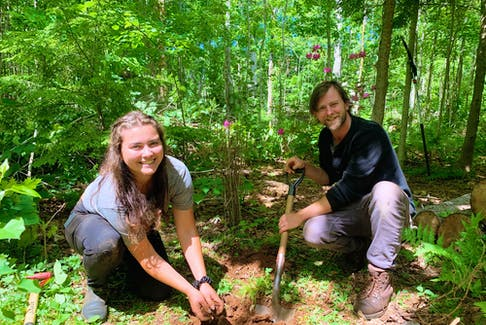 Isabelle Fitzpatrick, left, and Daniel McRae are working on the forest restoration plan on the last day of the field course in ecological forestry.