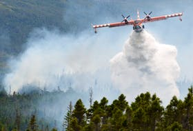A waterbomber drops its load on a three-hectare brushfire near Fermeuse in this July 2020 file photo.