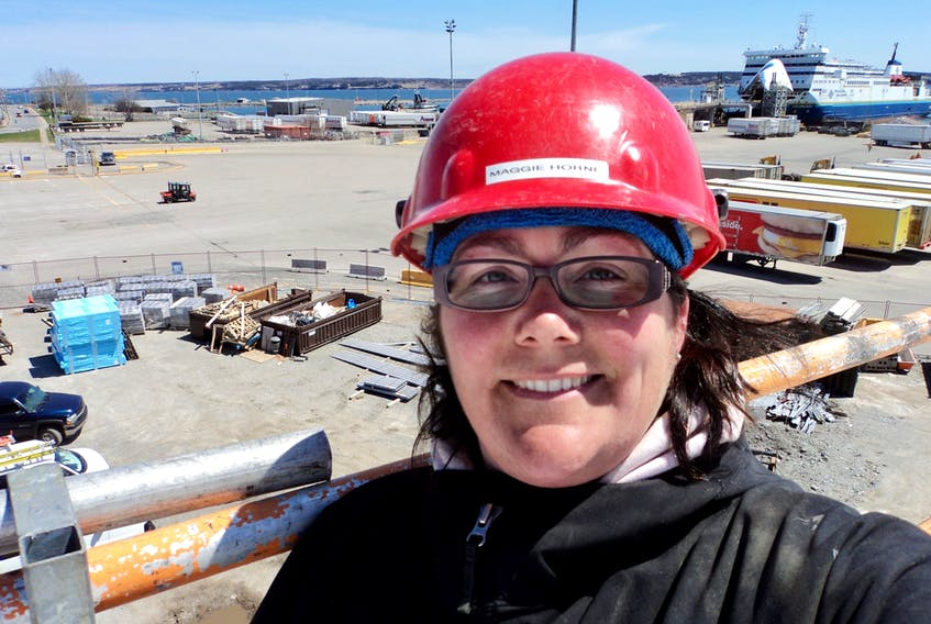 Maggie (Horne) Budden, seen here working at the Marine Atlantic Ferry terminal in North Sydney, was the first Canadian woman to become a Red Seal ironworker. She's now employed as project co-ordinator for the Office to Advance Women Apprentices in Sydney. CONTRIBUTED
