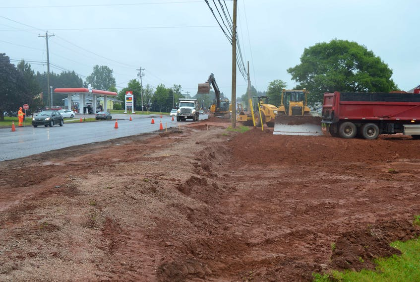 Work began recently on a roundabout at the corner of St. Peters Road and Angus Drive, near Mel's Convenience Store in Charlottetown.