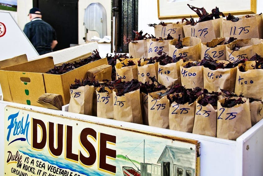 Dulse - made of dark red seaweed that is dried - becomes a crispy, chip-like snack. - St. John City Market photo