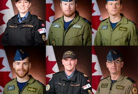 Top row, from left: Sub-Lieutenant Abbigail Cowbrough, a Maritime Systems Engineering Officer, originally from Toronto, Ontario, Captain Brenden Ian MacDonald, Pilot, originally from New Glasgow, Nova Scotia, Captain Kevin Hagen, Pilot, originally from Nanaimo, British Columbia, Bottom row, from left: Captain Maxime Miron-Morin, Air Combat Systems Officer, originally from Trois-Rivières, Québec, Sub-Lieutenant Matthew Pyke, Naval Weapons Officer, originally from Truro, Nova Scotia and Master Corporal Matthew Cousins, Airborne Electronic Sensor Operator, originally from Guelph, Ontario.