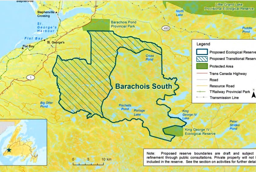 One of the 32 proposed ecological reserves is in the area of Barachois South.