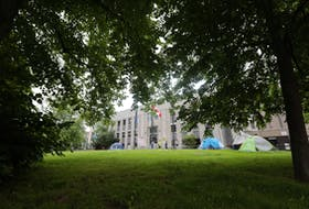 Multiple tents are seen in Halifax on Tuesday, July 6, 2021. According to the latest figures from the Affordable Housing Association of Nova Scotia, 352 people are currently homeless in HRM and about 75 per cent of those people have been experiencing homelessness for six months or more.