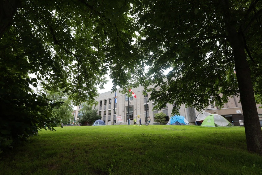 Multiple tents are seen in Halifax on Tuesday, July 6, 2021. According to the latest figures from the Affordable Housing Association of Nova Scotia, 352 people are currently homeless in HRM and about 75 per cent of those people have been experiencing homelessness for six months or more. - Eric Wynne
