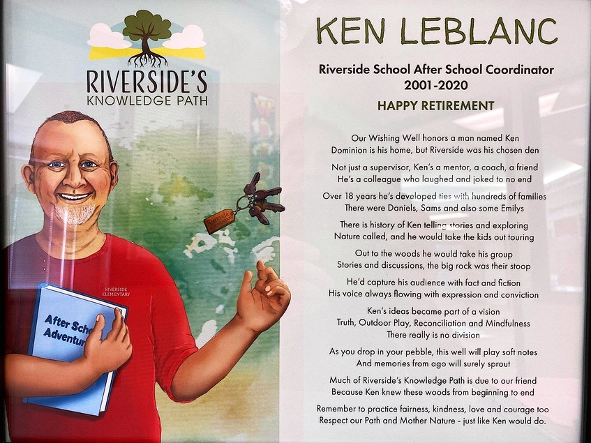 The caricature of Ken LeBlanc on the sign was created by Anchored Ideas in Sydney. LeBlanc is throwing his keys in the air and catching them — something he used to do constantly while walking through the halls at Riverside School, singing a song. CONTRIBUTED