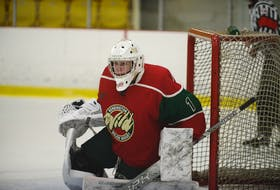 Kensington Monaghan Farms Wild goaltender Kiefer Thompson plays in a game during the 2020-21 major under-18 hockey season. The Summerside D. Alex MacDonald Ford Western Capitals selected the Summerside native as a territorial pick on July 5, ahead of the Maritime Junior Hockey League (MHL) Entry Draft on July 10.