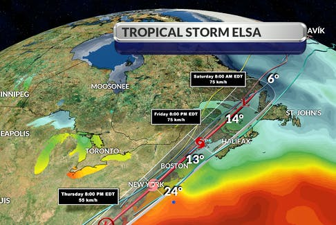Tropical storm Elsa will enter Canadian waters, come up the Bay of Fundy and then sit over the southwest corner of New Brunswick by about 8 p.m. Friday, says SaltWire chief meteorologist Cindy Day.