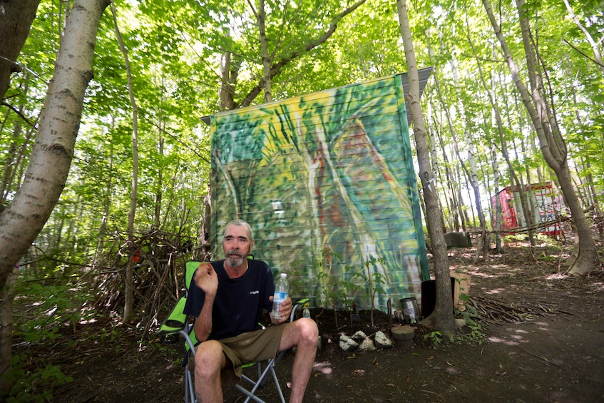 Allan DeYoung says he plans to stay in his temporary shelter in Dartmouth next Tuesday, when HRM has ordered for them to be removed. And if it's removed, he says he'll just buy a tent and set it up in the same area because it beats sleeping on a bench. - Eric Wynne