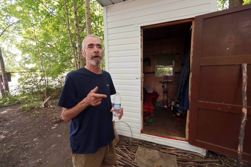 Allan DeYoung says he won't leave his little home in the 'temporary housing' in a green space near Alderney Landing in Dartmouth. The almost 60-year-old man has been bouncing when it comes to housing after he lost his job at the beginning of the pandemic early last year. - Eric Wynne