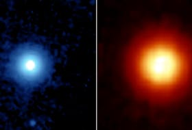 NASA's Spitzer Space Telescope captured these images of the star Vega, located 25 light years away in the constellation Lyra, in 2005. Spitzer was able to detect the heat radiation from the cloud of dust around the star and found that the debris disc is much larger than previously thought. - NASA image