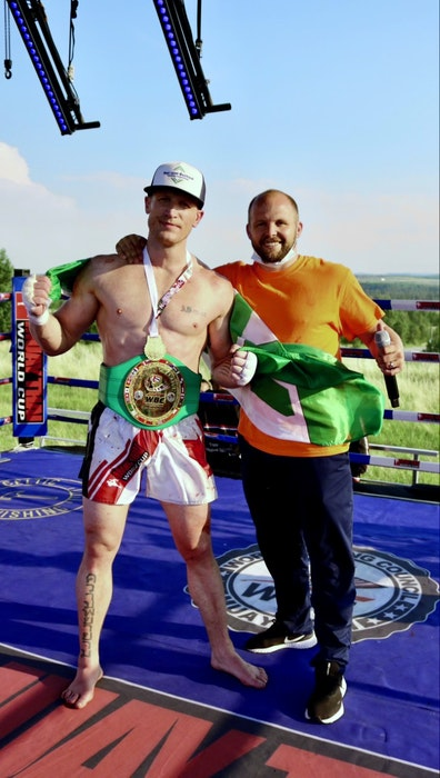 Mark MacKinnon, originally of Sydney, left, captured the World Boxing Council Canadian Cruiserweight Muay Thai Championship at Grey Eagle Resort and Casino in Calgary on Saturday. MacKinnon, who's pictured with coach Kieran Keddle, has lived in Alberta since 2007. CONTRIBUTED