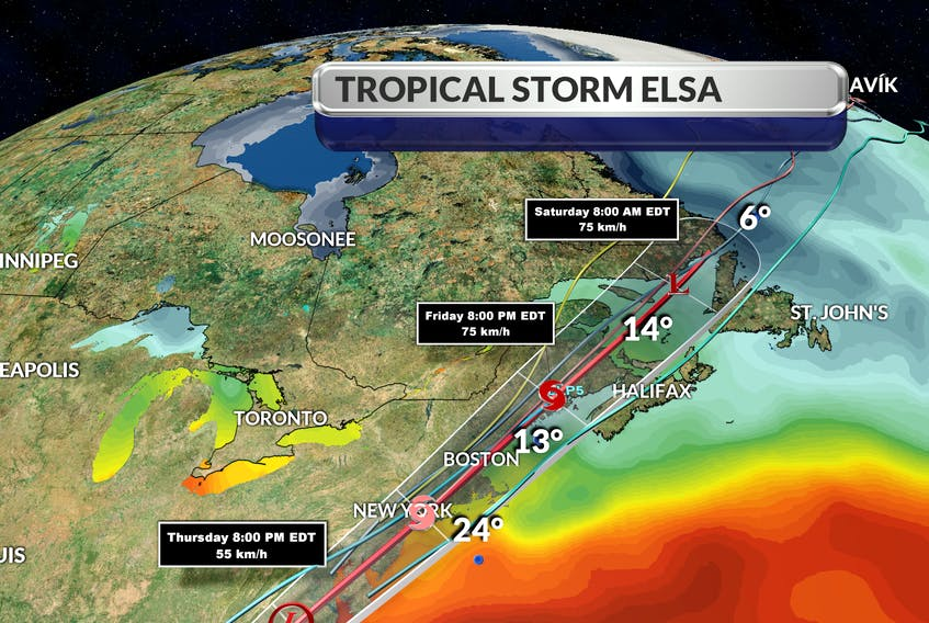 Tropical storm Elsa will enter Canadian waters, come up the Bay of Fundy and then sit over the southwest corner of New Brunswick by about 8 p.m. Friday, says SaltWire chief meteorologist Cindy Day. - CINDY DAY
