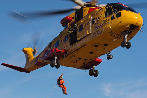 A CH-149 Cormorant helicopter, used by the Canadian Forces for search and rescue operations.