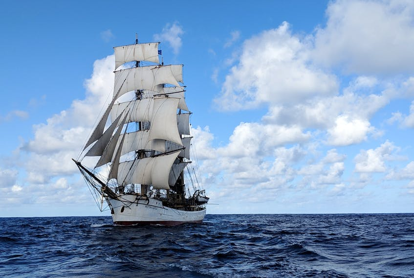 The Picton Castle is a three-masted tall ship berthed in Lunenburg.